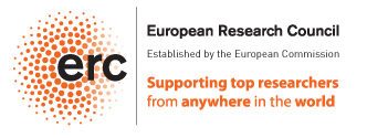 "The logo of the European Research Council, the acronym erc on a circle of red dots, with the text: ""Established by the European Commission. Supporting top researchers from anywhere in the world"""