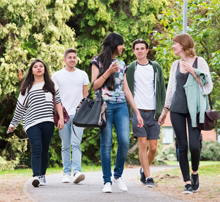 students walking around Oadby Student Village