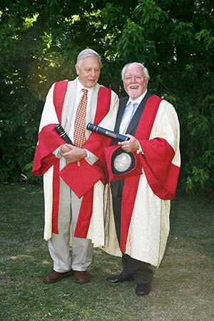 David and Richard Attenborough in ceremonial robes