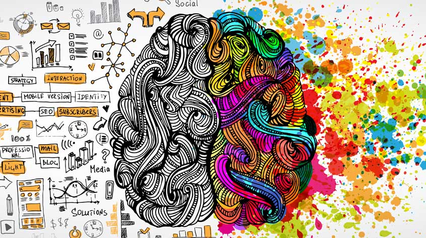 Left right human brain concept. creative part and logic part with social and business doodles