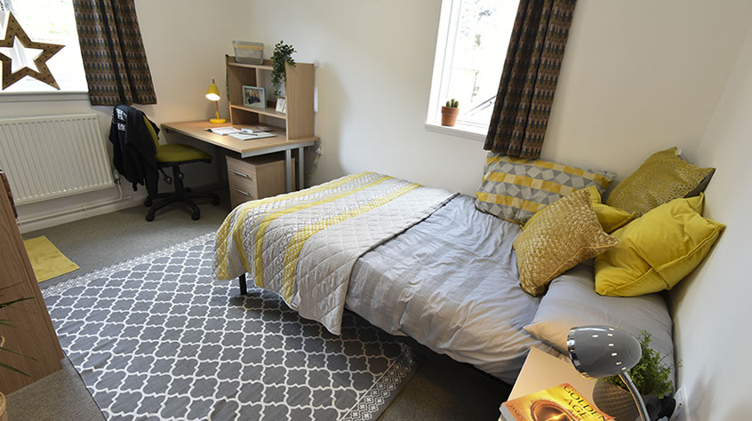 A furnished bedroom in student accommodation