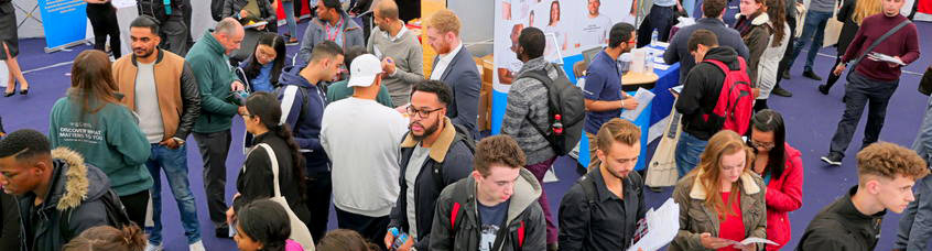 students at a careers fare
