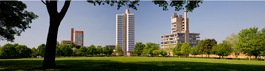 university campus buildings from victoria park