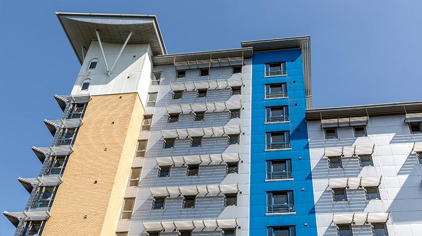 An external shot of Opal Court student accommodation