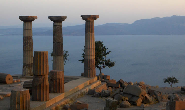 View of Mediterranean columns and the sea