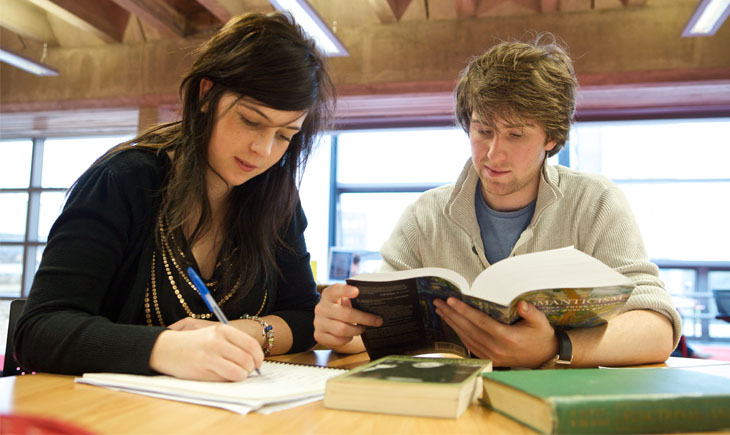 Two students in the David Wilson Library reading and making notes