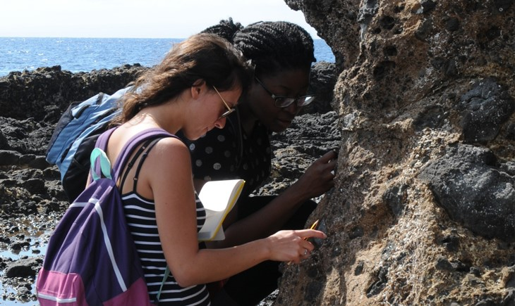 geology students examining rock
