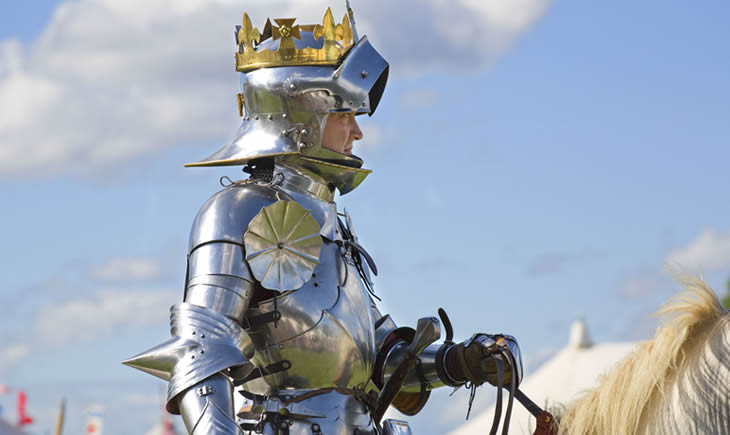 Richard III re-enactor in armour