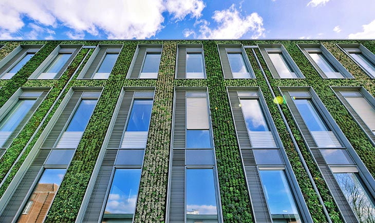 Abstract view of a modern building with greenery