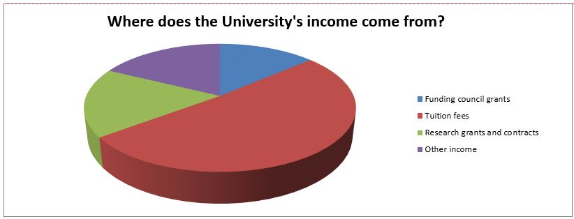 pie chart of university income