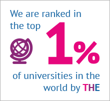 Infographic that shows 'We are ranked in the top 1% of universities in the world by the THE'
