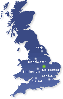 Blue map of the UK with Leicester highlighted in green