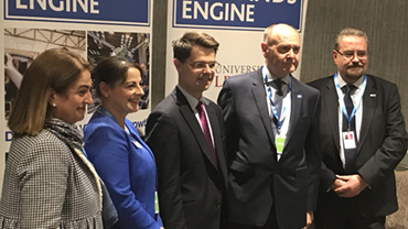 L-R: Maria Machancoses, Director of Midlands Connect; Fiona Piercy, Fiona Piercy, Midlands Engine Programme Director; James Brokenshire MP; Sir John Peace; and Professor Iain Gillespie.