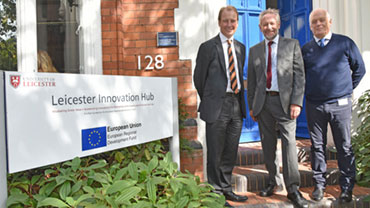Professor Paul Boyle, Sir Peter Soulsby and Councillor Nick Rushton.
