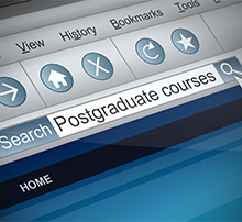 Web browser with 'postgraduate courses' in the search bar