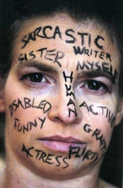 A woman with characteristics written on her face